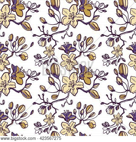Flowering Branches Of Cherries, Apples, Pears, Buds, Leaves. Line Drawn Floral Seamless Pattern On W