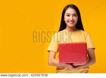 Excited Young Asian Female With Raised Hands Celebrating Success Portrait Cheerful Positive Asian Wo