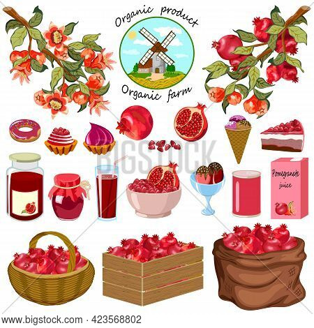 Set With Pomegranate And Products.branches With Flowers And Pomegranates And Products On A White Bac