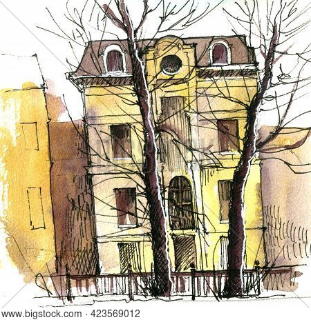 Watercolor Drawing Old Mansion And Trees, Sketch Of Town At White Background, Hand Drawn Illustratio
