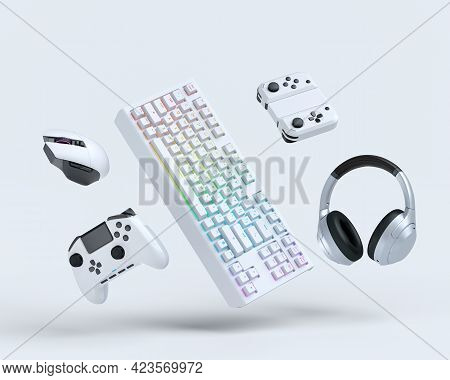Flying Gamer Gears Like Mouse, Keyboard, Joystick, Headset, Vr Headset On White Table Background. 3d