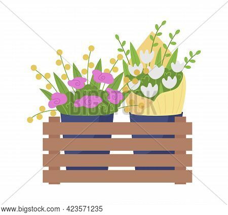 Flower Kiosk Semi Flat Color Vector Object. Commercial Floral Industry. Pink, White Flowers Delivery
