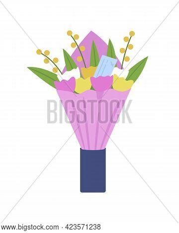 Flowers Delivery Semi Flat Color Vector Object. Unique Gift Creation. Colorful Tulip Bouquet. Floris