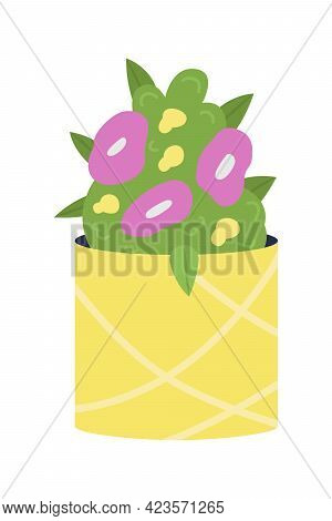 Flowering Bush In Pottery Vase Semi Flat Color Vector Object. Flower Arrangement With Greenery. Summ