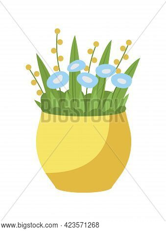 Blue Forget Me Not Flower Bouquet In Yellow Vase Semi Flat Color Vector Object. Faithfulness Symbol.