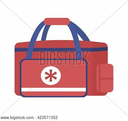 Emergency Medical Bag For Paramedics Semi Flat Color Vector Object. Treating Traumatic Injuries. Med