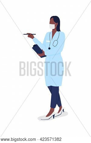 Female Doctor Semi Flat Color Vector Character. Practitioner In Mask Figure. Full Body Person On Whi