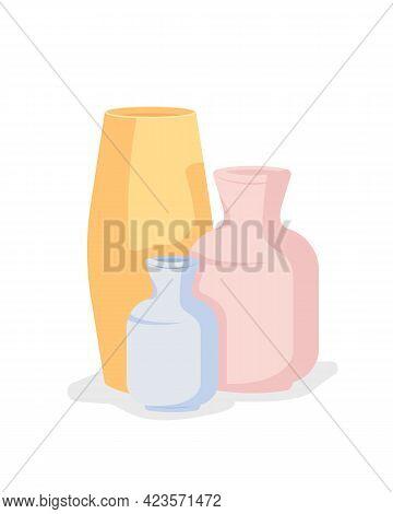 Handmade Pottery Vases Semi Flat Color Vector Object. Ceramics Courses. Professional-looking Items.