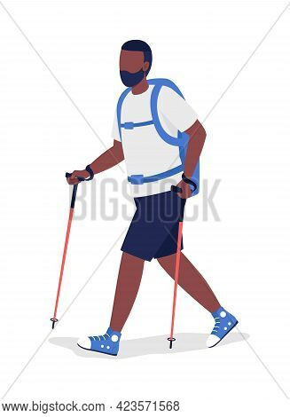 Man Hiking Semi Flat Color Vector Character. Trekker With Walking Sticks Figure. Full Body Person On