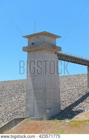BREA, CALIFORNIA - 9 JUN 2021: The Carbon Canyon Dam, was constructed in 1959 as a response to Orange Countys growth and its need for flood control.