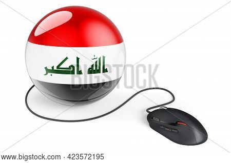 Computer Mouse With Iraqi Flag. Internet Network In Iraq Concept. 3d Rendering Isolated On White Bac