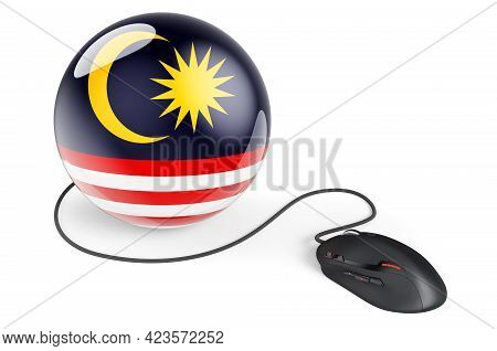 Computer Mouse With Malaysian Flag. Internet Network In Malaysia Concept. 3d Rendering Isolated On W