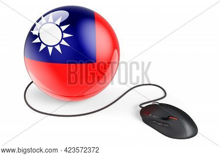 Computer Mouse With Taiwanese Flag. Internet Network In Taiwan Concept. 3d Rendering Isolated On Whi