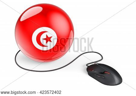 Computer Mouse With Tunisian Flag. Internet Network In Tunisia Concept. 3d Rendering Isolated On Whi