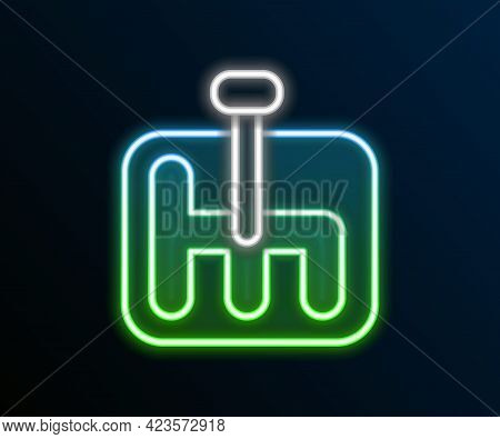 Glowing Neon Line Gear Shifter Icon Isolated On Black Background. Transmission Icon. Colorful Outlin