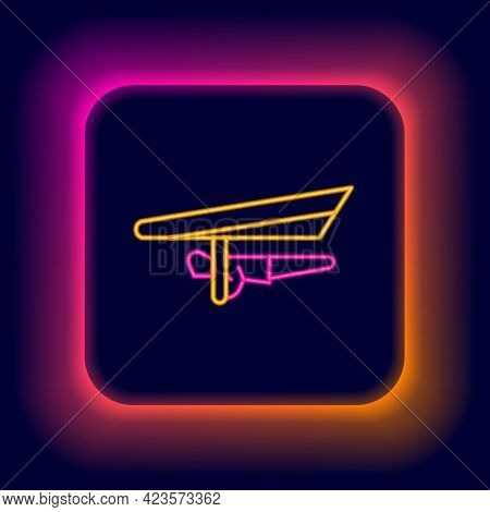 Glowing Neon Line Hang Glider Icon Isolated On Black Background. Extreme Sport. Colorful Outline Con