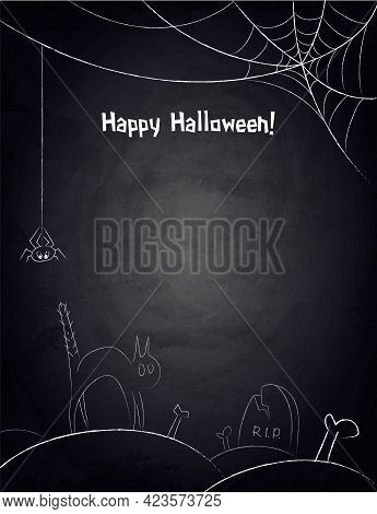 Chalkboard Background For Halloween Design With Hand Drawn Spiderweb, Funny Cat And Graveyard