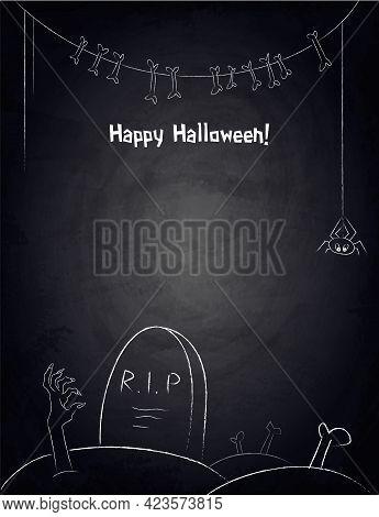 Chalkboard Background For Halloween Design With Hand Drawn Garland Of Bones, Graveyard And Spider