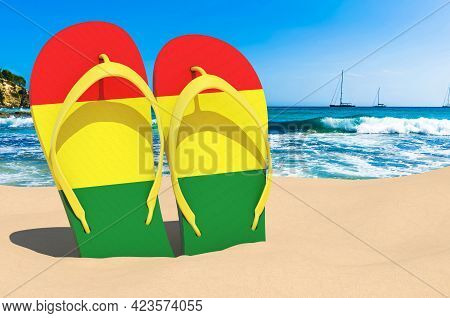 Flip Flops With Bolivian Flag On The Beach. Bolivia Resorts, Vacation, Tours, Travel Packages Concep