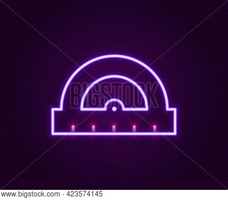 Glowing Neon Line Protractor Grid For Measuring Degrees Icon Isolated On Black Background. Tilt Angl