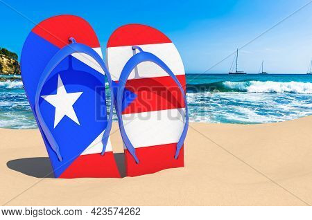 Flip Flops With Puerto Rican Flag On The Beach. Puerto Rico Resorts, Vacation, Tours, Travel Package