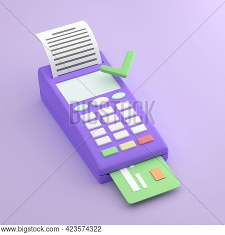 Payment Terminal, Cartoon Style. Pos Terminal On Purple Background With Check And Credit Card. Appro