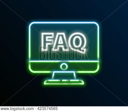 Glowing Neon Line Computer Monitor And Faq Icon Isolated On Black Background. Adjusting, Service, Se