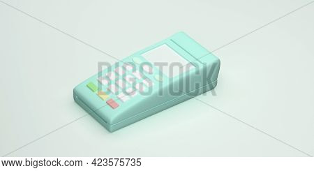 Payment Terminal In Pastel Colors. Pos Terminal. 3d Rendering.
