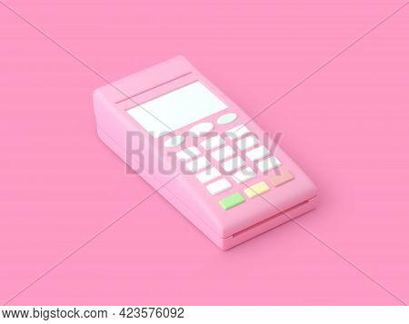 Payment Terminal In Pink Color. Pos Terminal. 3d Rendering.