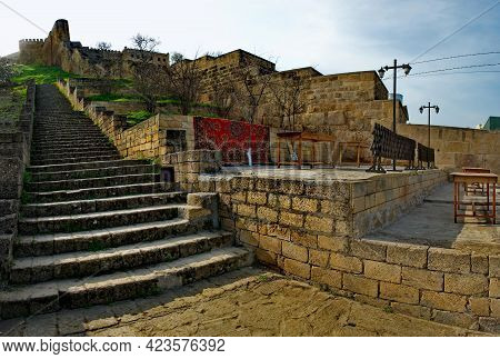 Derbent. Russia. April 09, 2021. Republic Of Dagestan. The Main Stone Staircase To The Ancient Pre-a