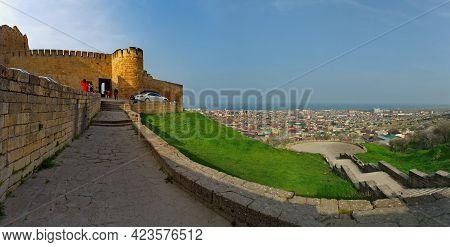 Derbent. Russia. April 09, 2021. Republic Of Dagestan. An Observation Deck At The Walls Of The Ancie