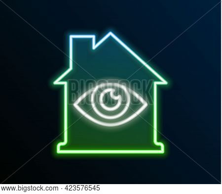 Glowing Neon Line House With Eye Scan Icon Isolated On Black Background. Scanning Eye. Security Chec