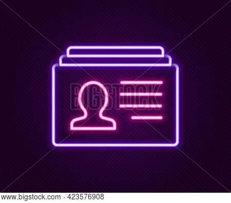 Glowing Neon Line Resume Icon Isolated On Black Background. Cv Application. Searching Professional S