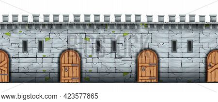 Brick Castle Wall, Vector Seamless Stone Texture, Medieval Palace Fortification, Wooden Door, Loopho