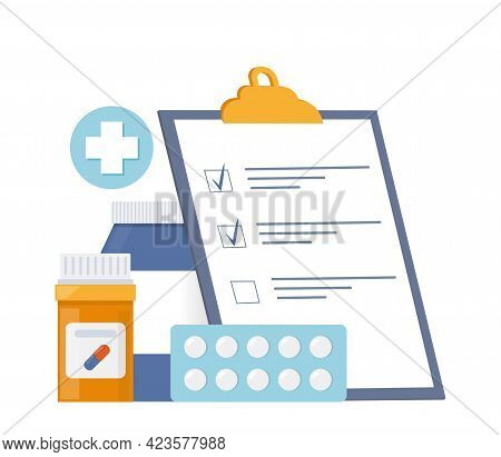 Vials Of Medicines, Tablets, Capsules And Clipboard With Checklist. Medicine, Pharmacy Concept. Drug