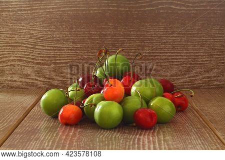 Single Whole Fresh Green Can Erik Plum And Cherry Close Up Isolated On Dark Background. Green Plums