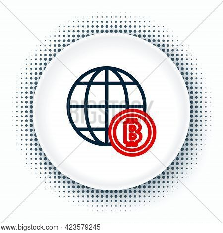 Line Globe And Cryptocurrency Coin Bitcoin Icon Isolated On White Background. Physical Bit Coin. Blo