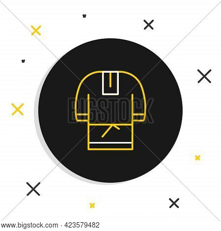 Line Kosovorotka Is A Traditional Russian Shirt Icon Isolated On White Background. Traditional Natio