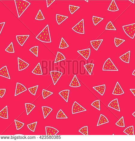 Line Nachos Icon Isolated Seamless Pattern On Red Background. Tortilla Chips Or Nachos Tortillas. Tr