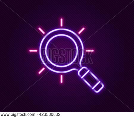 Glowing Neon Line Magnifying Glass Icon Isolated On Black Background. Search, Focus, Zoom, Business