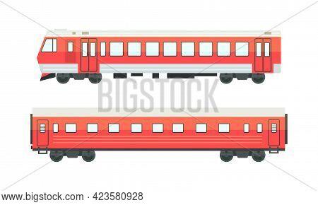 Railway Passenger Suburban Vehicles Set, Side View Of Locomotive And Wagon Railroad Transport Flat V