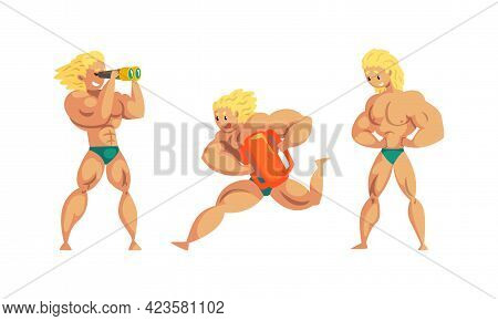 Muscular Man Beach Lifeguard Ensuring Safety, Professional Rescuer Character In Action Set Cartoon V
