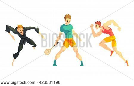 Professional Athletes Doing Sports Set, Male Karate Fighter, Tennis Player, Runner Cartoon Vector Il
