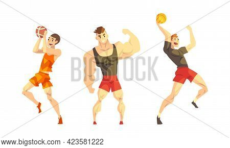 Professional Athletes Doing Sports Set, Male Basketball And Volleyball Players, Bodybuilder Male Car
