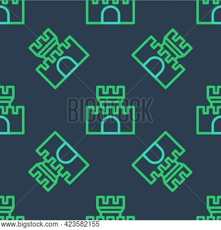 Line Castle Icon Isolated Seamless Pattern On Blue Background. Medieval Fortress With A Tower. Prote