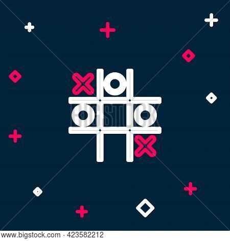 Line Tic Tac Toe Game Icon Isolated On Blue Background. Colorful Outline Concept. Vector