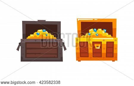 Treasure Wooden Brown Chests Set, Opened Antique Pirate Dower Chest Cartoon Vector Illustration