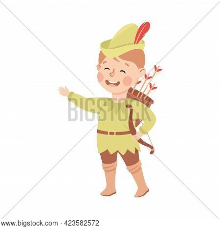 Kind And Fair Little Boy Wearing Robin Hood Costume Fighting For Justice Vector Illustration