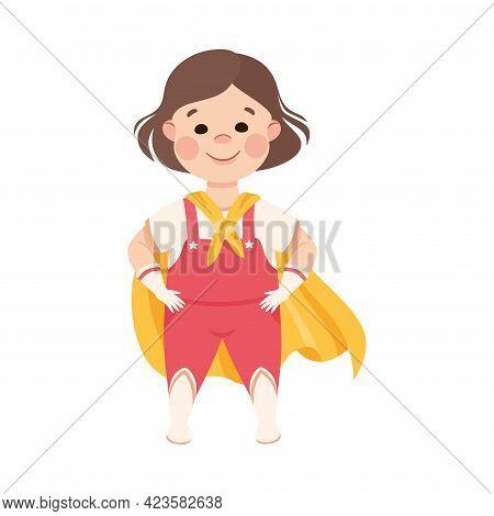 Kind And Fair Little Girl Wearing Superhero Cloak Doing Justice Vector Illustration