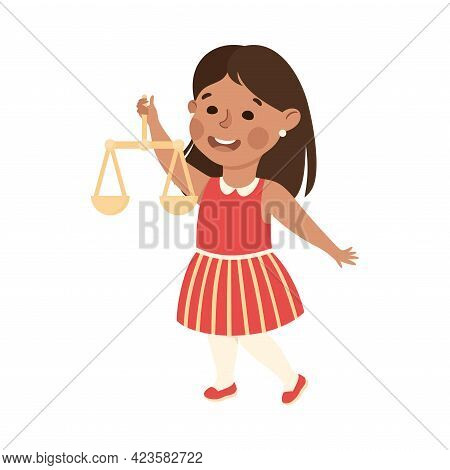 Kind And Fair Little Girl Holding Scales Of Justice Vector Illustration